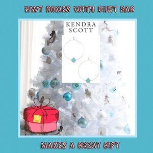 Kendra Scott Silver blue Roberta hoop earrings.NWT
